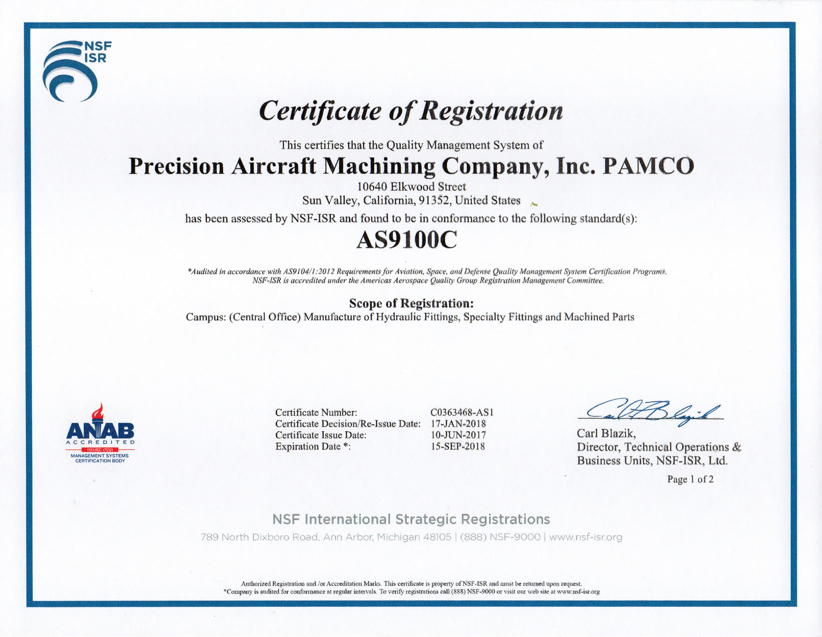 Pamco Receives Iso 90012008 Asen 9100 C Certification
